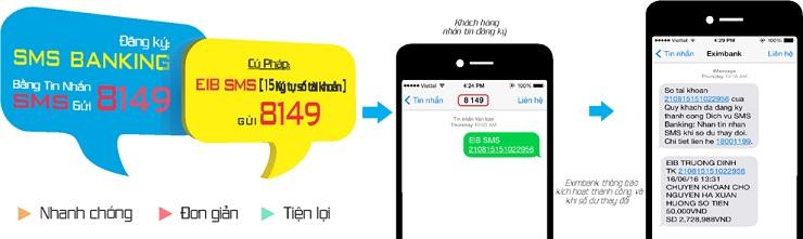 sms banking sms eximbank  Exim Bank ứng dụng đăng ký SMS Banking qua tin nhắn SMS